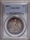 Seated Dollars: , 1859-S $1 VF25 PCGS. This medium gray S-Mint reveals several minuteabrasions scattered over ...