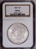 Morgan Dollars: , 1883 $1 MS66 NGC. Untoned save for a thin peripheral sliver ofamber-violet on both sides. Br...