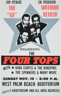 Music Memorabilia:Posters, Four Tops/Spinners West Palm Beach Auditorium Concert Poster(1969)....