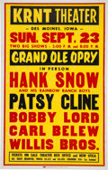 Music Memorabilia:Posters, Patsy Cline/Hank Snow KRNT Theater Concert Poster (Grand Ole Opry,1962)....
