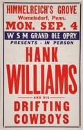 Music Memorabilia:Posters, Hank Williams Himmelreich's Grove Concert Poster (1950). ...