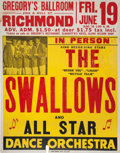 Music Memorabilia:Posters, The Swallows Gregory's Ballroom Concert Poster (1953)....