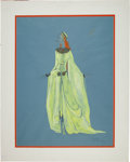 "Movie/TV Memorabilia:Original Art, A Costume Design Sketch by Gilbert Adrian from the Broadway Musical ""Camelot.""..."