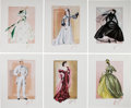 """Movie/TV Memorabilia:Memorabilia, A Set of Limited Edition Signed and Numbered Costume Design Sketches by Walter Plunkett from """"Gone With The Wind,"""" Circa 1970s..."""