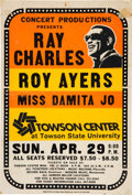 Music Memorabilia:Posters, Ray Charles Towson Center Concert Poster (1979)....