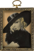 Movie/TV Memorabilia:Photos, A Mae West Beautiful Hand-Painted Black and White PorcelainPhotograph, Circa 1932....