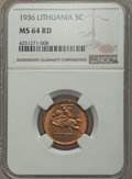 Lithuania, Lithuania: Republic 5 Centai 1936 MS64 Red NGC,...