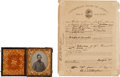 Photography:Ambrotypes, Civil War 1/6th Plate Ambrotype and Confederate Enlistment Document for Joseph W. Howerton, South Carolina 18th Infantry Regim... (Total: 2 Items)