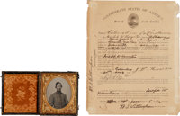 Civil War 1/6th Plate Ambrotype and Confederate Enlistment Document for Joseph W. Howerton, South Carolina 18th Infantry...