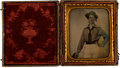 Photography:Ambrotypes, 1/6th Plate Ruby Ambrotype of a Sailor, Circa 1850s....