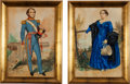 Military & Patriotic:Civil War, Stephen Henry Gimber. Pair of Original Aquarelle Portraits of a Military Officer and His Wife, Circa 1820-1830.... (Total: 2 Items)