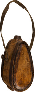 Military & Patriotic:Civil War, Revolutionary War Period Teardrop Shape Standing Wooden Canteen With Crown Stamp....