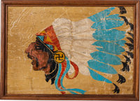 WWI Lafayette Escadrille Fuselage Fabric Displaying the Squadron's Famous Indian-Head Insignia