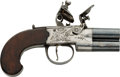 Handguns:Muzzle loading, English Double Barrel Over and Under Flintlock Pistol....