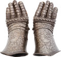 Militaria:Armor, Victorian-Era Gauntlets Made in the Medieval German Style.... (Total: 2 Items)