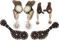 Western Expansion:Cowboy, Lot of Two Western Spurs and a Pair of Antique Leathers. ...(Total: 3 Items)