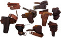 Western Expansion:Cowboy, Large Lot of Vintage Gun Leather - Revolver Holsters and Belts....(Total: 9 Items)