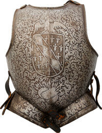 Victorian-Era Italian Style Etched Breastplate