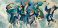 Fine Art - Painting, American:Modern  (1900 1949)  , William Gropper (American, 1897-1977). Hasidic Dancing. Oilon canvas. 24 x 50 inches (61 x 127 cm). Signed lower right:...