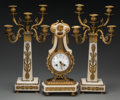 Timepieces:Clocks, A Three-Piece Louis XVI-Style Gilt Bronze Mounted Marble Clock Garniture, late 19th century. 16-1/2 inches high (41.9 cm) (c... (Total: 5 Items)