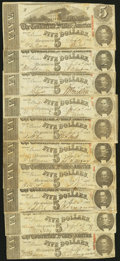Confederate Notes:1863 Issues, T60 $5 1863 Ten Examples.. ... (Total: 10 notes)