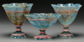 Decorative Arts, Continental:Other , A Three-Piece Carved Blue Agate and Rhodochrosite Garniture, 20thcentury. Engraved to underside: S Paul. 6-3/4 inches h...(Total: 3 Items)