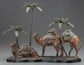 Bronze:European, An Austrian Cold Painted Bronze Figural Three-Light Candelabrum:Camels and Palms, late 19th century. 15 h x 18-...