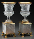Decorative Arts, French:Other , A Pair of Baccarat-Style Gilt Bronze Mounted Cut-Glass Urns, late20th century. 20-3/4 inches high (52.7 cm). ... (Total: 2 Items)