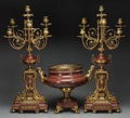 Decorative Arts, French:Other , A Three-Piece Gilt Bronze-Mounted Sienna Marble Garniture withSix-Light Candelabra, circa 1875. 28-1/2 inches high (72.4 cm...(Total: 3 Items)