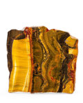 Lapidary Art:Carvings, Tiger's Eye Slab. Mt. Brockman Station. Pilbara. WesternAustralia. 7.87 x 8.07 x 0.43 inches (20.00 x 20.50 x 1.09cm)...