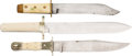 Edged Weapons:Knives, Lot of Three Bone-Handled Sheath Knives.... (Total: 3 )