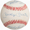 Baseball Collectibles:Balls, 1980's New York Yankees Greats Multi-Signed Baseball with Mantle. ...