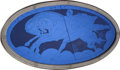 Decorative Arts, Continental:Other , A Continental Art Deco Two-Panel Blue Oval Mirror with ClassicalMotif, circa 1925. 43 inches high x 80 inches wide (109.2 x...(Total: 2 Items)