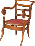 Furniture : English, A Colonial Anglo-Indian Walnut, Ivory and Cane Armchair, 19th century. 34-1/2 h x 22-1/4 w x 22 d inches (87.6 x 56.5 x 55.9...