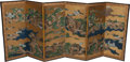 Asian:Japanese, A Pair of Japanese Tosa School Six-Panel Partial Gilt andWatercolor Paper Screens, circa 1700. 47-1/2 h x 114 w inches(120... (Total: 2 Items)