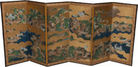 A Pair of Japanese Tosa School Six-Panel Partial Gilt and Watercolor Paper Screens, circa 1700 47-1/2 h x 114 w in