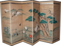 Asian:Japanese, A Japanese Six-Panel Ink and Watercolor Paper Screen, mid 19thcentury. 67-1/2 h x 142-1/2 w inches (171.5 x 362.0 cm). ...