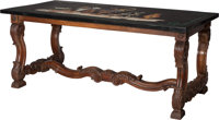 A Continental Carved Walnut Table with Specimen Marble Top, 19th century and later 28 h x 67 w x 31-5/8 inches dee
