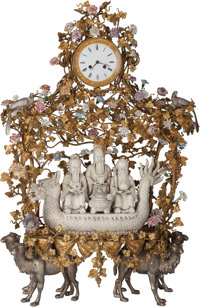 A Blanc-de-Chine, Gilt and Silvered Bronze Figural Clock: Scholar, Ruler and Wise Man,</