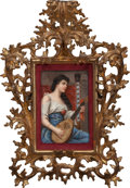 Ceramics & Porcelain, Continental:Modern  (1900 1949)  , A German Painted Porcelain Plaque in Giltwood Frame, after Conrad Kiesel: The Old Song, early 20th century . Mar...