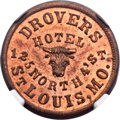 Civil War Merchants, 1863 Drovers Hotel, St. Louis, MO, Fuld 910A-4a, R.9, MS64 Red andBrown NGC. ...