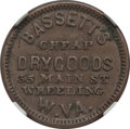 Civil War Merchants, 1863 Bassett's Dry Goods, Wheeling, WV, Fuld 890A-1a, R.7, XF45NGC. ...
