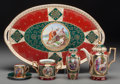 Ceramics & Porcelain, Continental:Modern  (1900 1949)  , A Twelve-Piece Royal Vienna-Style Demitasse Set, circa 1900. Marks: (pseudo beehive mark), . Marks to tray cartouche: Vanl... (Total: 13 Items)