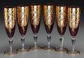Ceramics & Porcelain, Six Bavarian Painted and Partial Gilt Glass Champagne Stems, late 19th century. 8-1/2 inches high (21.6 cm). PROPERTY FROM... (Total: 6 Items)