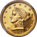 United States, United States: Republic gold Proof 2-1/2 Dollars 1902 PR65 NGC,...