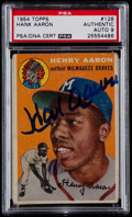 Baseball Cards:Singles (1950-1959), Signed 1954 Topps Hank Aaron #128 PSA Authentic....