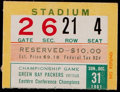 Football Collectibles:Tickets, 1961 NFL Championship Green Bay Packers vs. New York Giants Ticket Stub - Vince Lombardi's First Championship Victory! ...