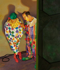 Mark Stock (American, b. 1951) Clowns, 1992 Oil on canvas 56 x 48 inches (142.2 x 121.9 cm) Si