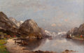 Paintings, Adolf Kaufmann (Austrian, 1848-1916). Fishermen on the Bank of a Fjord. Oil on canvas. 27-1/4 x 41-1/2 inches (69.2 x 10...