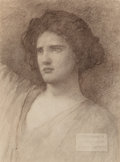 Works on Paper, Edwin Howland Blashfield (American, 1848-1936). Study of a Head for a Mural Panel. Charcoal on paper laid on board. 28-3...